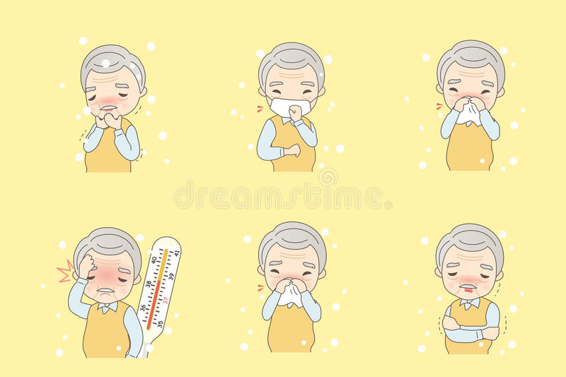 Old man catch cold. Cute cartoon old man catch a cold vector illustration