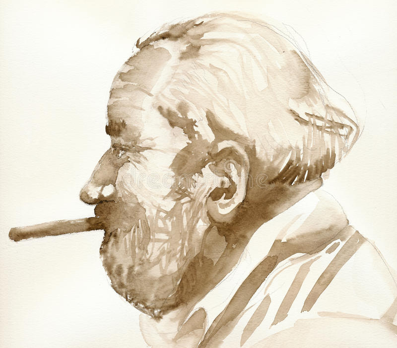 Old man with the cigar. Hand painted picture, watercolors technique - old man with cigar royalty free illustration
