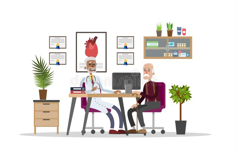 Old man consulting with doctor royalty free illustration