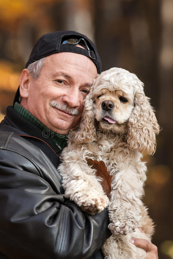 Download Old man with dog stock image. Image of caucasian, embracing - 28247347