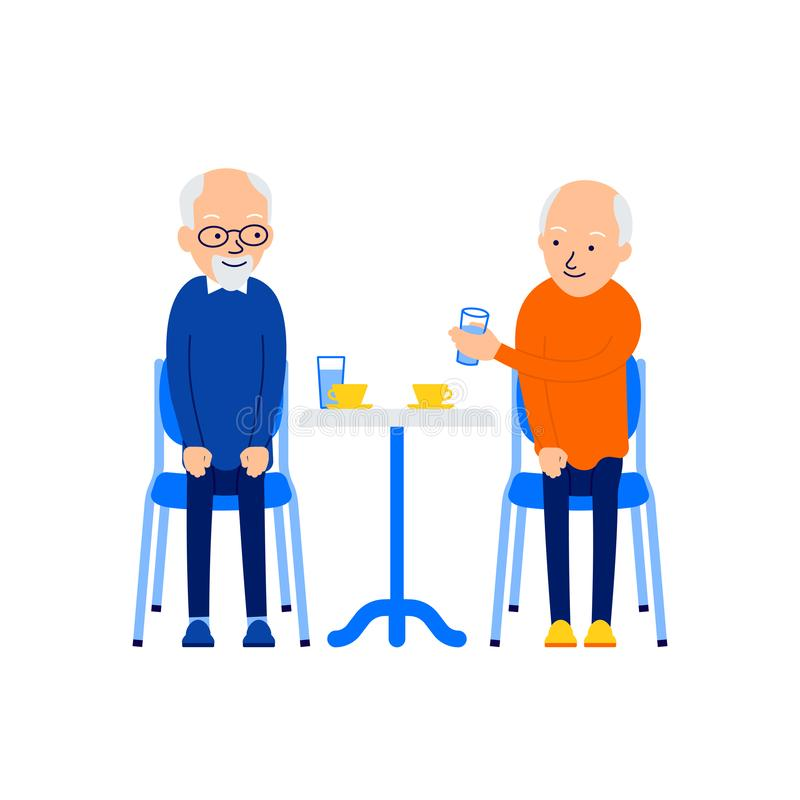 Old man drinking. Men leisure together. Modern caucasian senior drink tea or coffee. Aged friends sitting at table. Celebration. Concept. Illustration isolated royalty free illustration