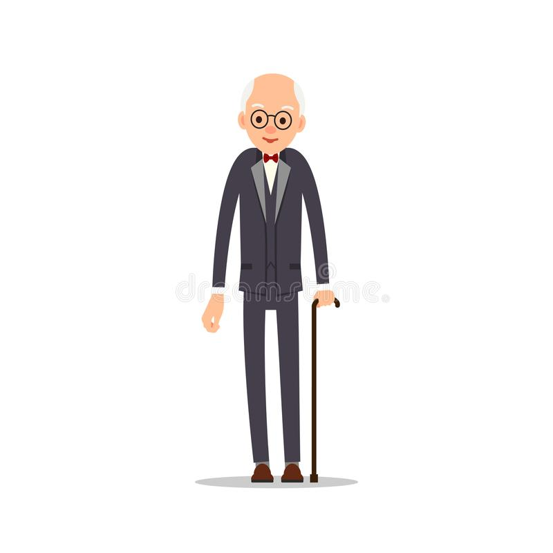 Old man. Elderly man in tail-coat with bow tie leans against stick. Cartoon illustration isolated on white background in flat. Style. Full length portrait of vector illustration