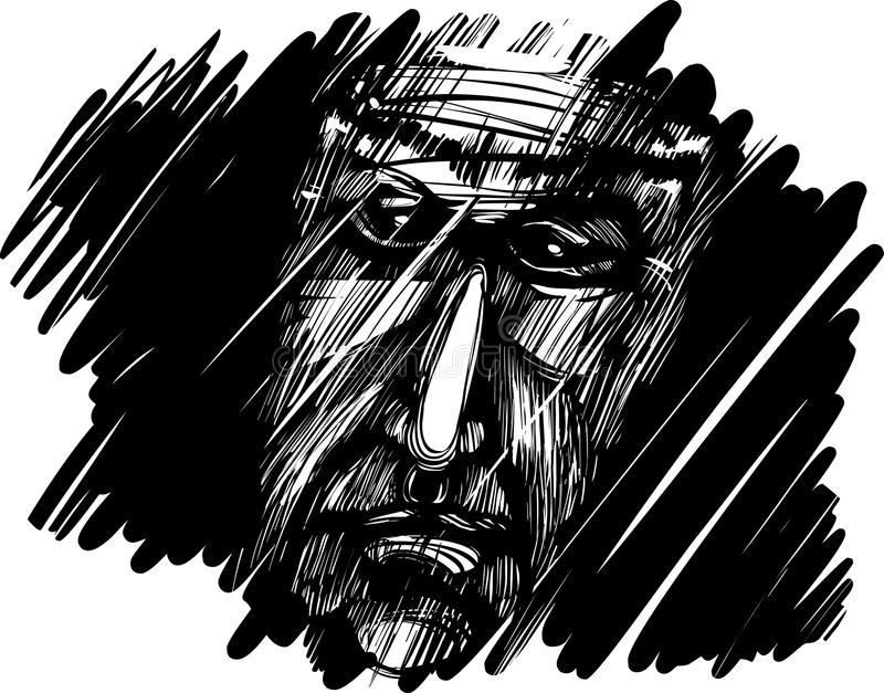 Old man face in darkness