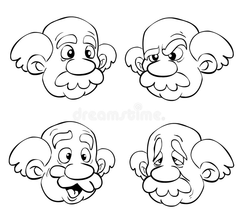 Old man faces. Old man with four facial and emotional expressions royalty free illustration
