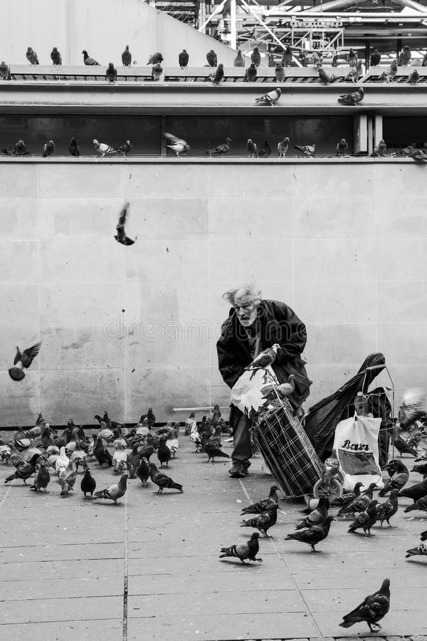 Old man feeding pigeons in black and white, Paris. Paris, France - August 22, 2015: Homeless old man feeding pigeons near the Pompidou Center in Paris in black royalty free stock image