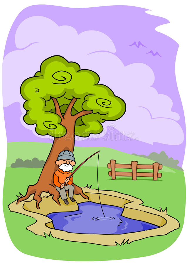 Download Old Man Fishing stock vector. Illustration of pond, outside - 9847400