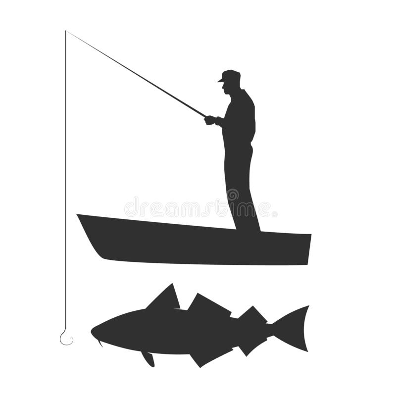 Old man is fishing cod on boat. Vector silhouette illustration. stock illustration