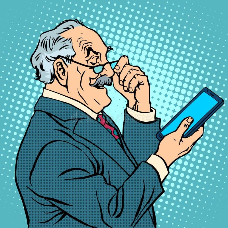 Old man gadgets elderly businessman new tablet. Pop art retro style stock illustration