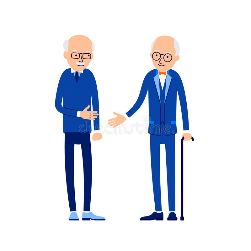 Old man greeting. Two older men greet each other by stretching their arms. Happy retirement. Concept traditional relationship vector illustration