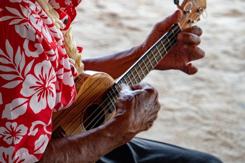 Old man hands playing hukulele in french polynesia. Old man hands playing hukulele in Bora Bora french polynesia stock photo