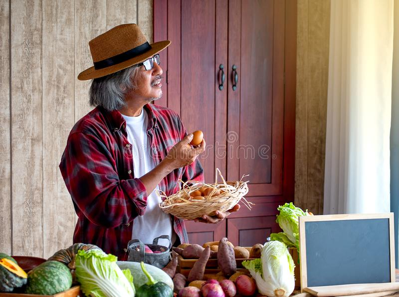 Old man with hat hold egg and a basket of eggs and look to the window with day light, think about his menu for cooking today with stock photos