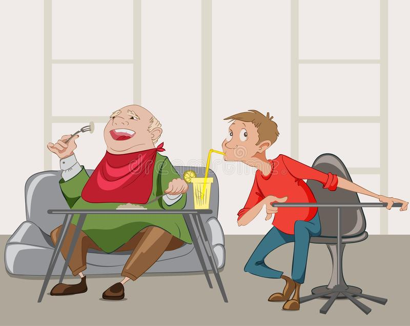 Old man having meal in a restaurant and a boy stealing his drink Vector funny concept cartoon characters. Fat man having meal in a cafe and a boy stealing his royalty free illustration