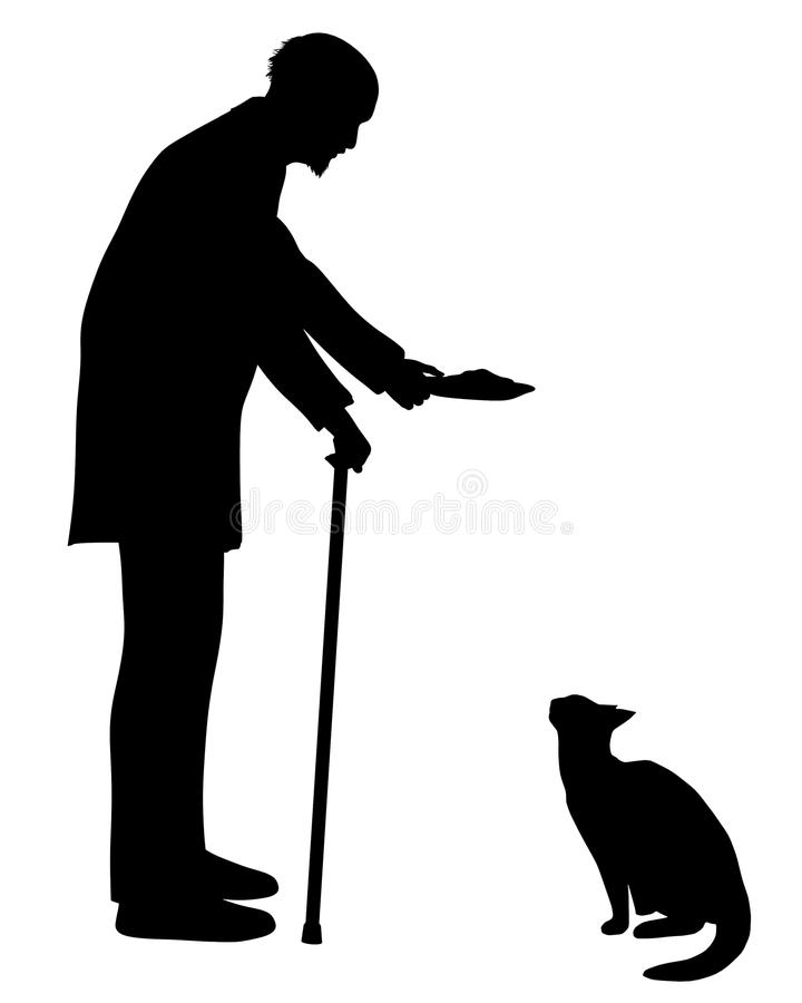 Old man and his Cat royalty free stock image