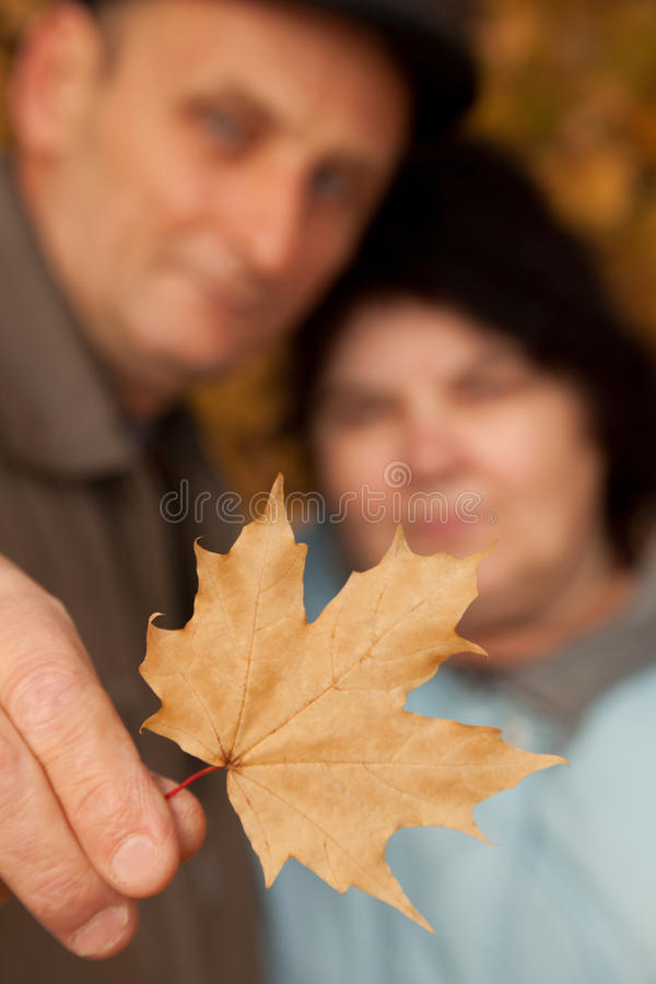 Old Man Hold Maple Leave And Embrace Old Woman Stock Photos