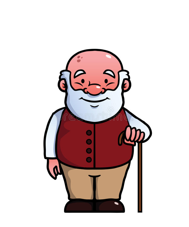Old man holding a cane stock illustration