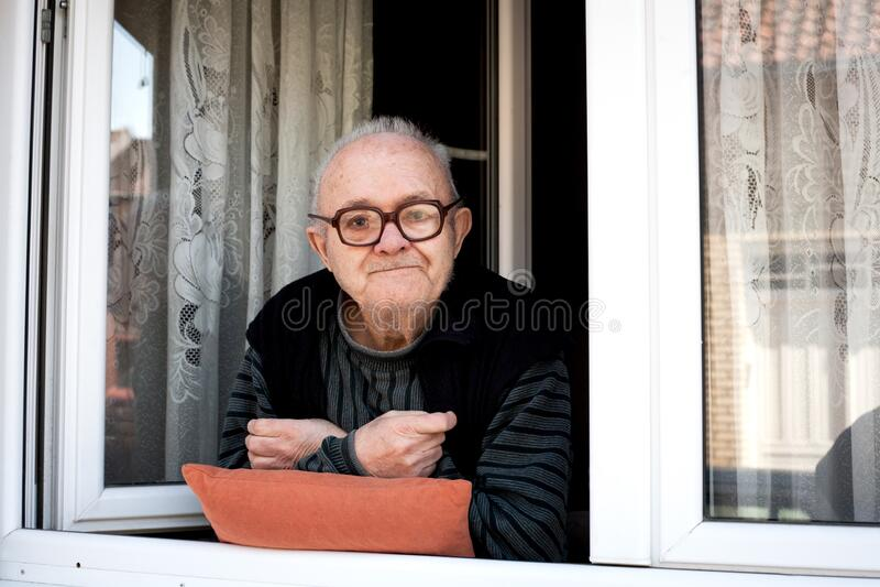 Old man in home isolation. Coronavirus-disease stock photography