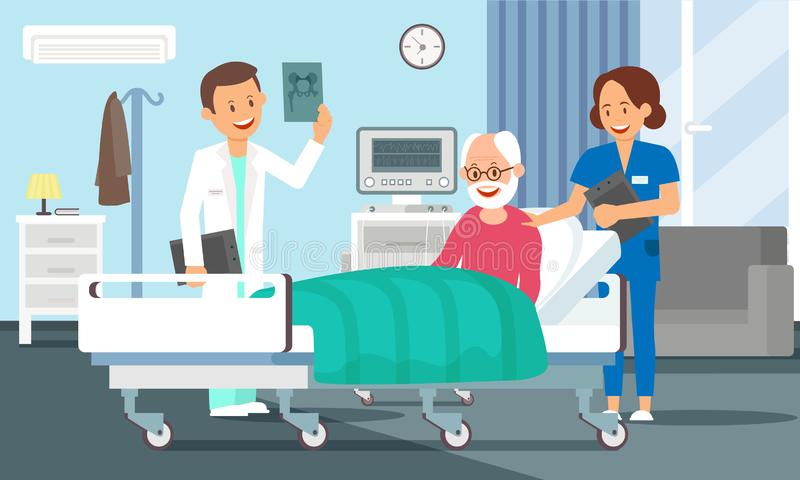 Old Man in Hospital Room. Vector Flat Illustration. Old Man in Hospital Room Concept. Senior Male Patient resting in Hospital Bed. Doctor and Nurse visiting a vector illustration