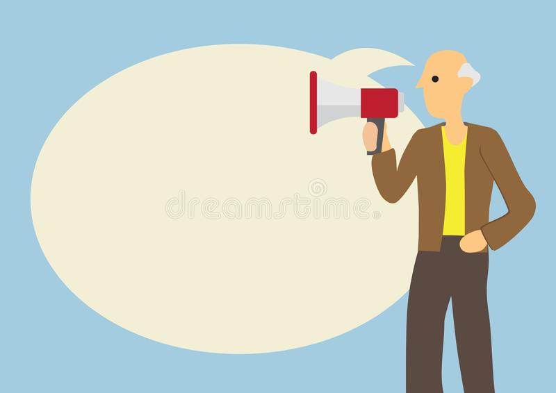 Old man with a megaphone and a giant speech bubble against a blue background. Concept of elderly voice vector illustration