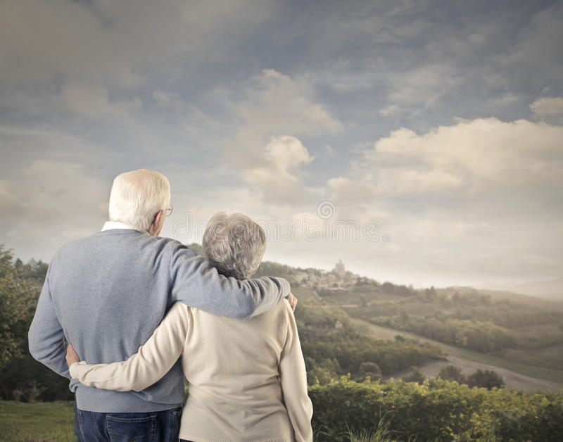 Old man and old woman together stock photos