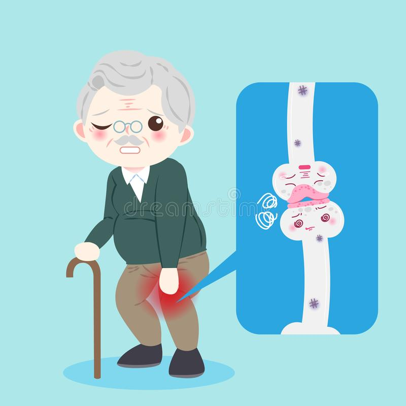 Old man with osteoporosis. Problem on the blue background vector illustration