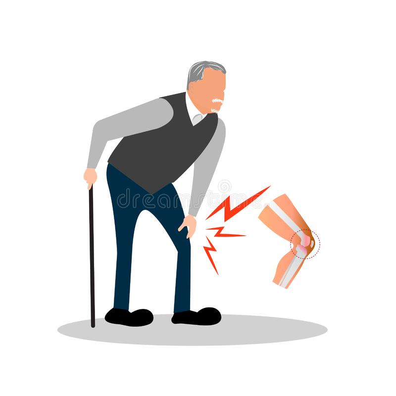 Old man pain at his knee. vector illustration