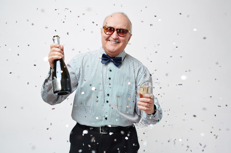 Old Man Partying royalty free stock photos