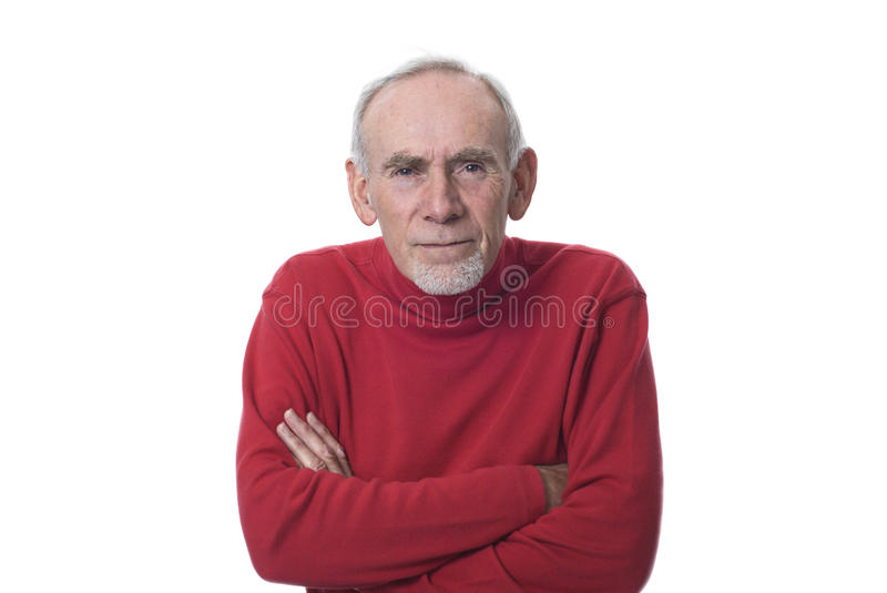 Old man peering and frowning royalty free stock images