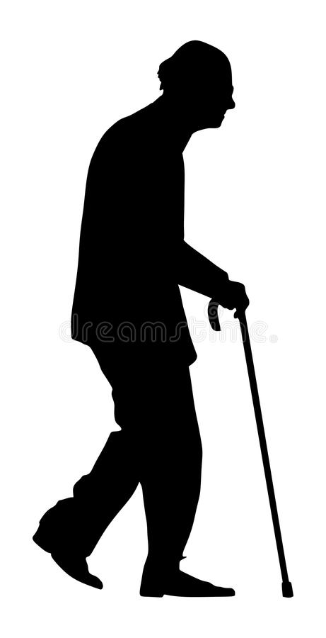 Old man person walking with stick silhouette. Character isolated on white background. Senior mature, old people active life. Old man person walking with stick stock illustration