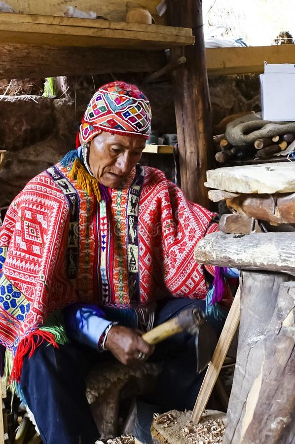 Old man in Peruvian costume stock images