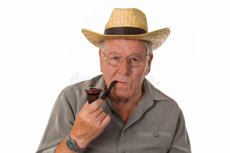 Download Old man with pipe stock image. Image of smoking, white - 20489663