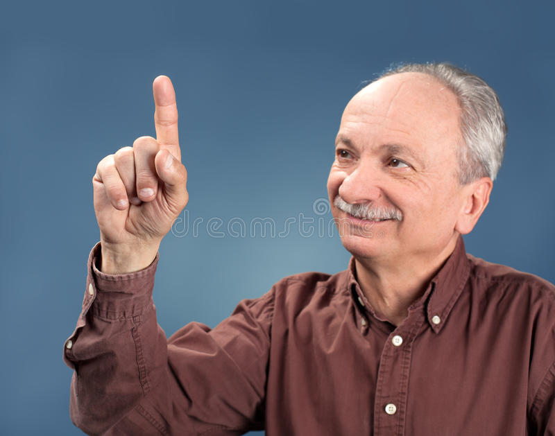 Download Old man pointing up stock image. Image of answer, office - 27805049