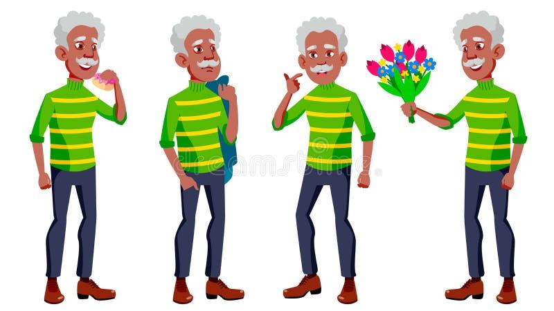 Old Man Poses Set Vector. Black. Afro American. Elderly People. Senior Person. Aged. Friendly Grandparent. Web, Poster vector illustration