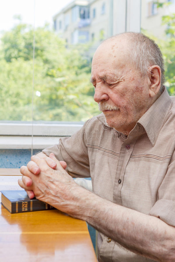 Download Old man praying stock image. Image of christian, faith - 25859603