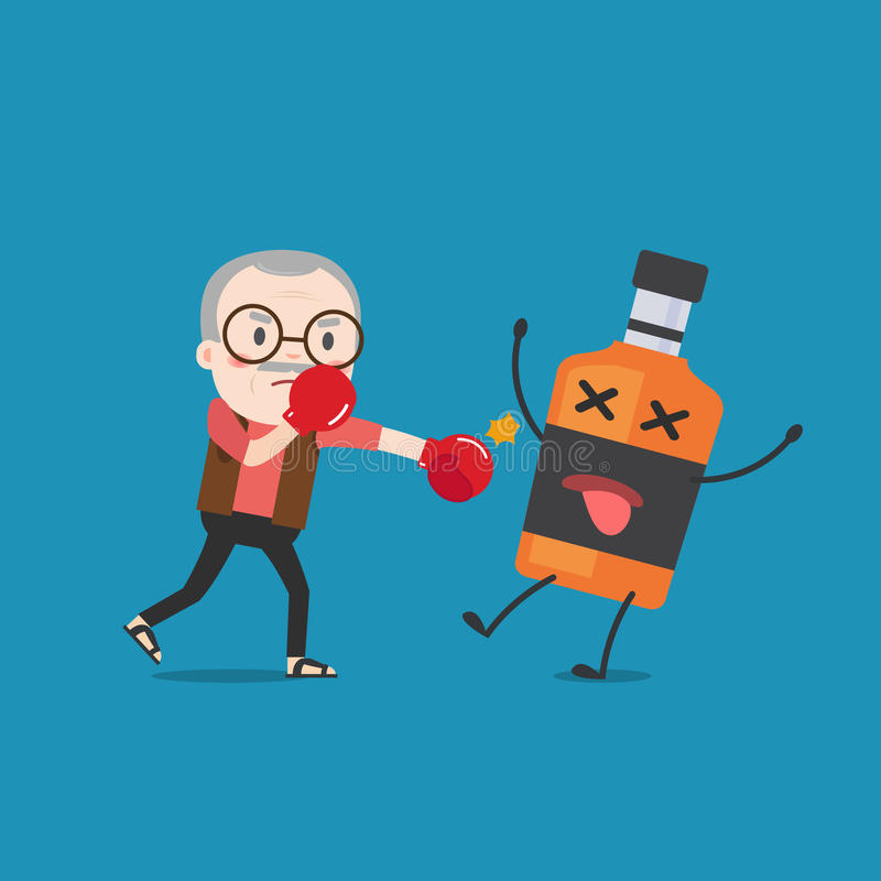 Old man punching liquor bottles to knock out. stock illustration
