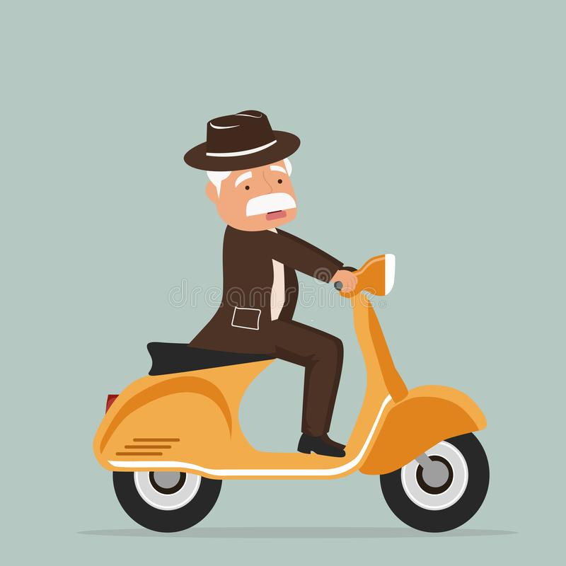 Old man riding scooter stock illustration