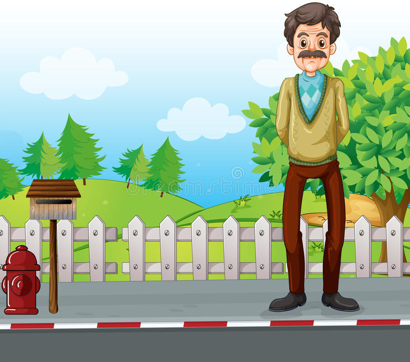 An old man at the roadside standing near the mailbox. Illustration of an old man at the roadside standing near the mailbox royalty free illustration