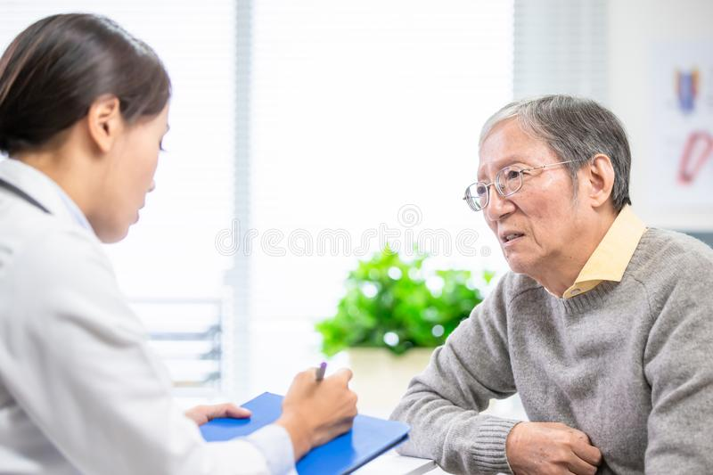Old man see female doctor. Old men see a female doctor and talk about illness feeling uncomfortable royalty free stock images