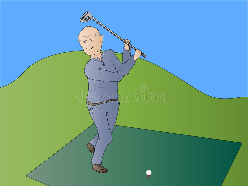 Old Man Senior Citizen Golfing. Old Man Senior Citizen Playing Golf Cartoon Illustration on a Green Golf Course with a Driver on Driving Range With Ball vector illustration