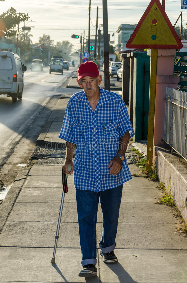 Old Man in a Sidewalk royalty free stock images