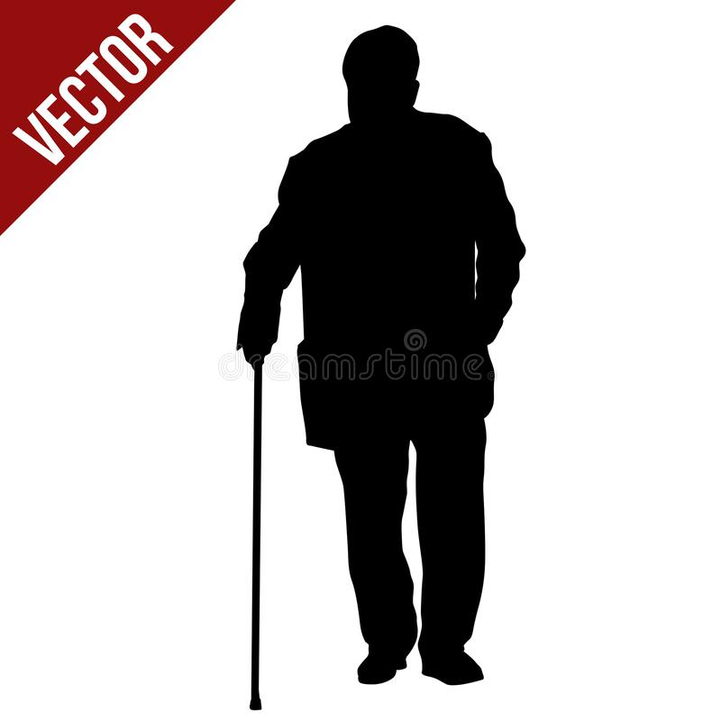 Old man silhouette with stick. On white background, vector illustration stock illustration