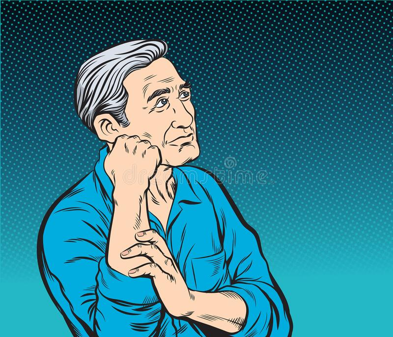 The old man sitting and thinking.Pop art vector illustration royalty free stock photography