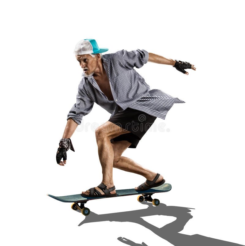Old Man skating white royalty free stock images