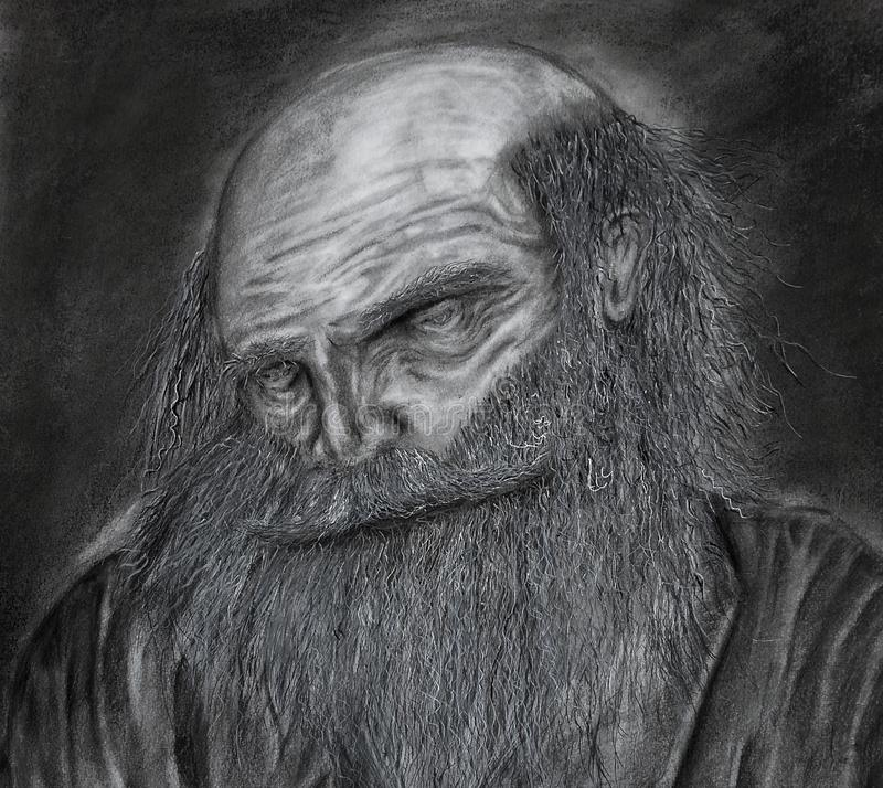 Old man sketch stock photo
