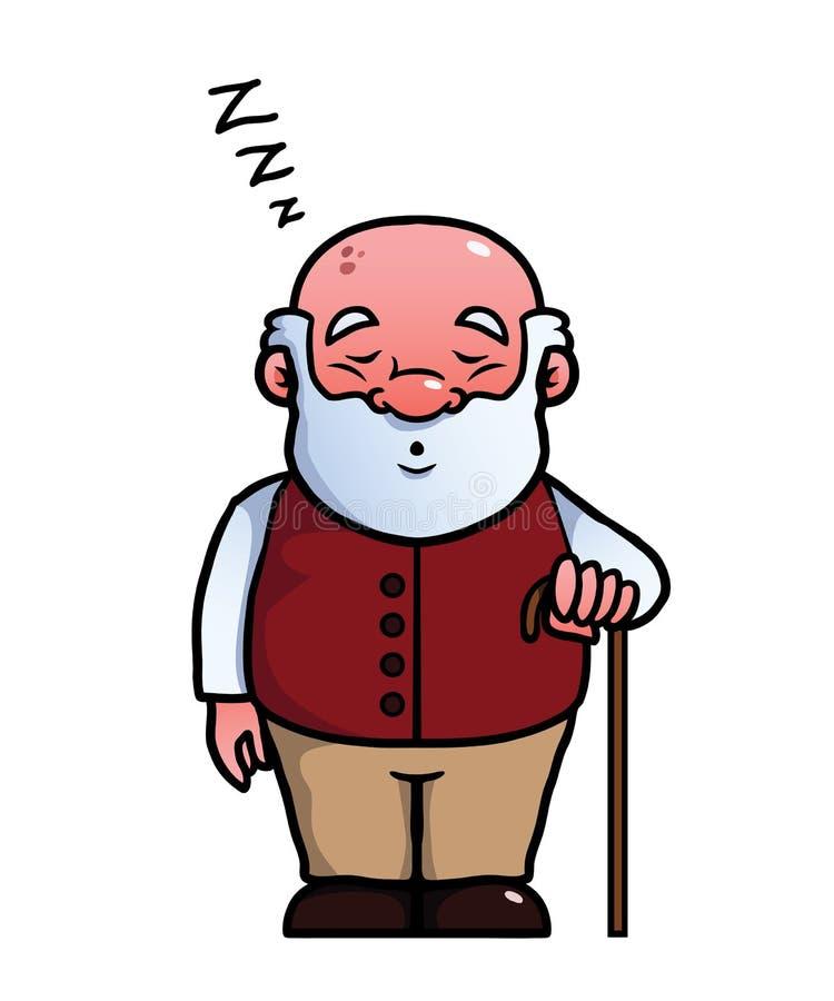 Old man sleeping and snoring vector illustration
