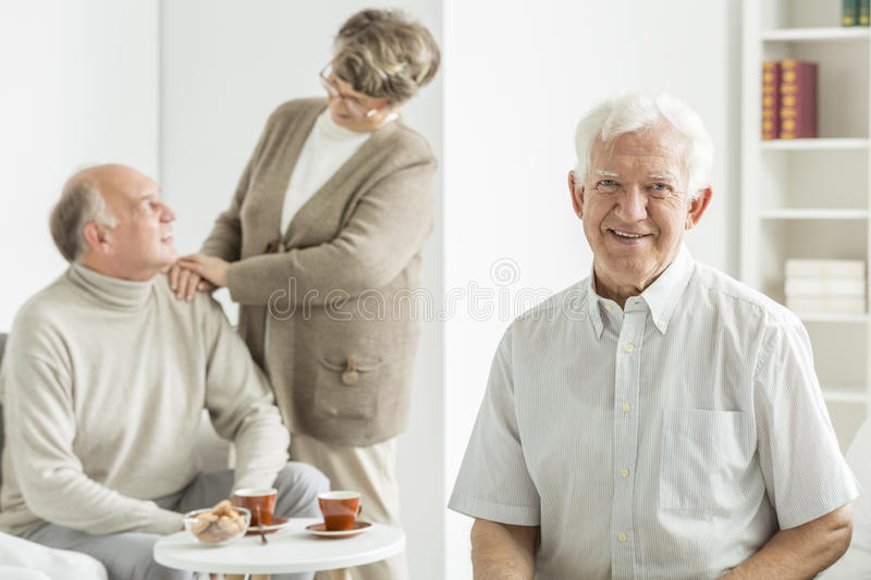 Old man smiling stock photography