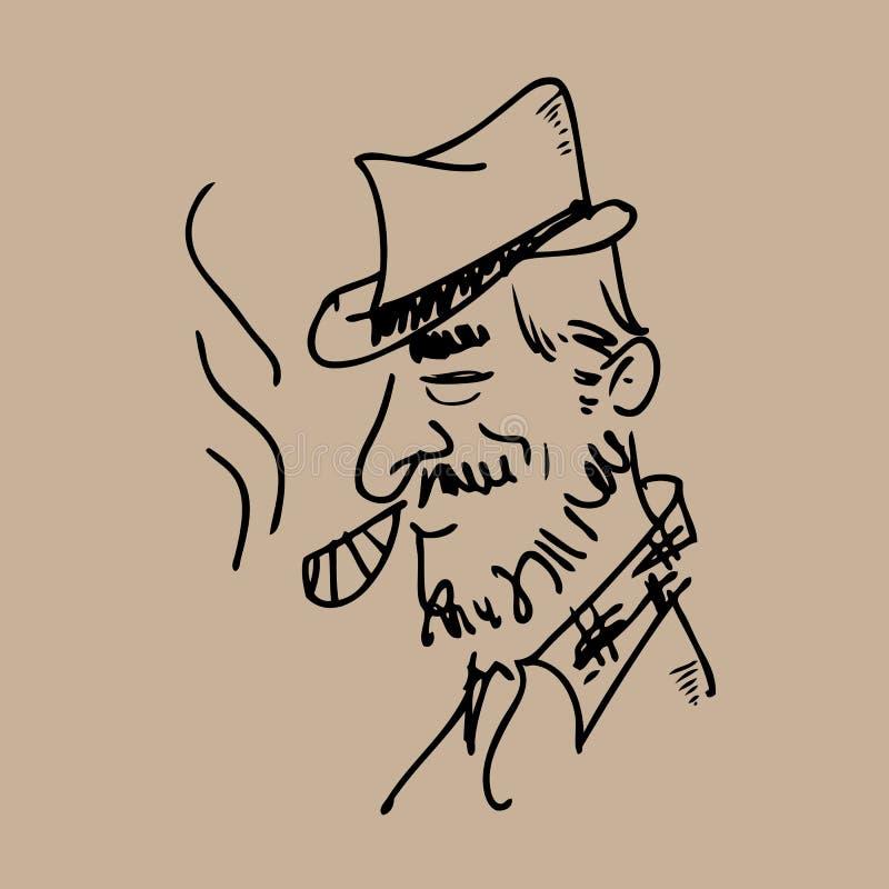Old man smoking cigar vector illustration
