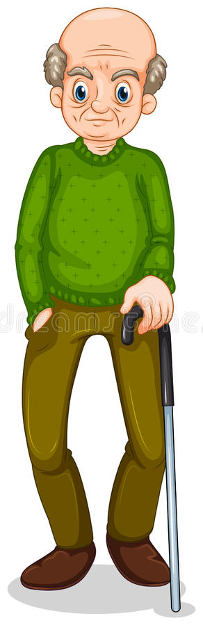 Download An Old Man Standing With A Cane Stock Vector - Image: 35321409