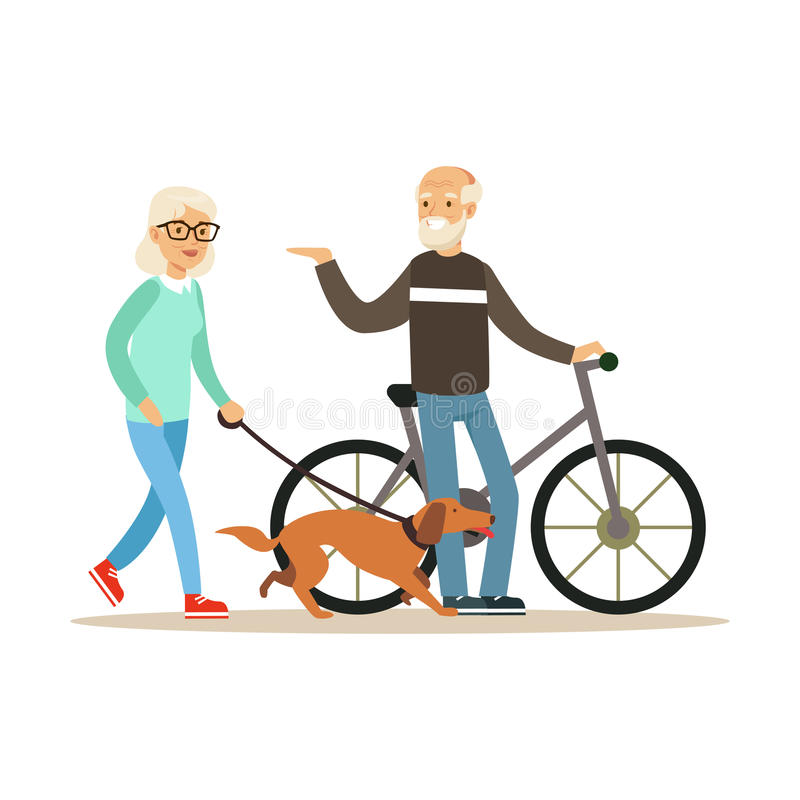 Old man standing next to a bike, senior woman walking with dog, healthy active lifestyle colorful characters vector. Illustration isolated on a white background stock illustration