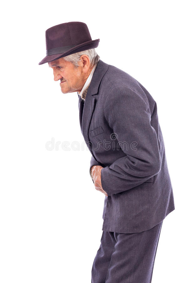 Old man with stomach pain. Against white background royalty free stock photography