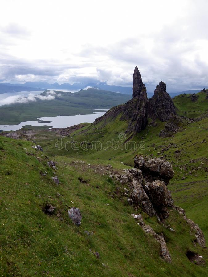 Old man of Storr, Isle of Skye. Viewpoint on Old man of Storr, Isle of Skye, Scotlandnn royalty free stock images
